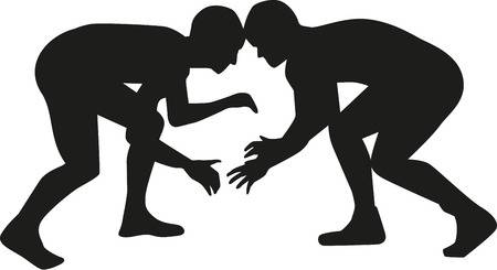 Clipart image of two wrestlers