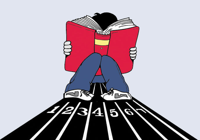 Clipart image of a boy reading a book on a running track