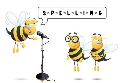 Animated image of a bumblebee at a spelling bee