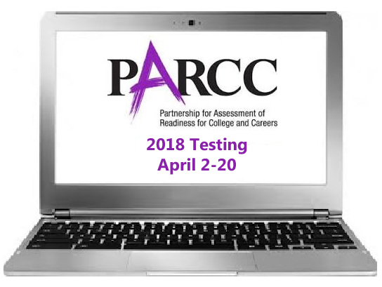 Image of a laptop with PARRC testing dates on screen