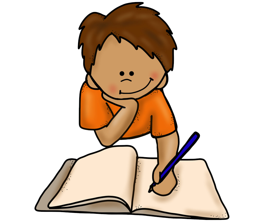 Clipart image of a student writing a book