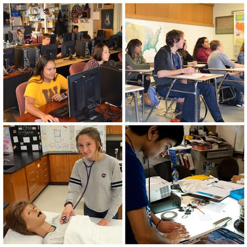 Photo collage of students in dual credit classes