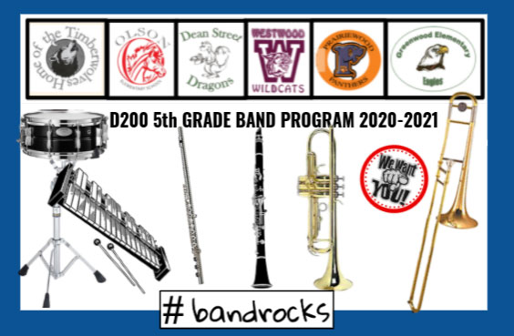 5th Grade Band graphic with images of various band instruments