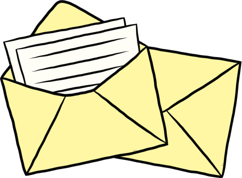 Clipart image of a letter in an envelope