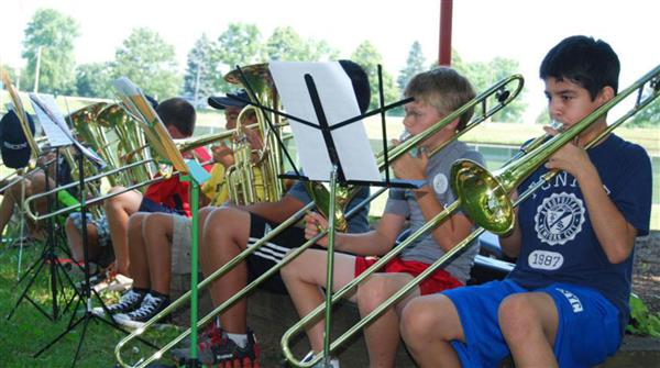 Photo of trombone players at summer band camp